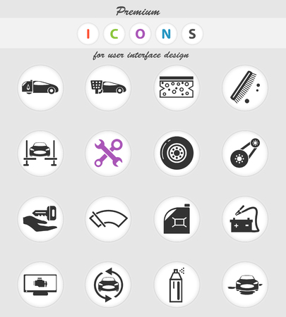 car shop vector icons for user interface design