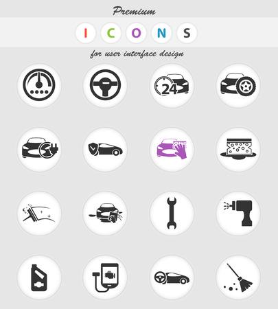 car shop vector icons for user interface design