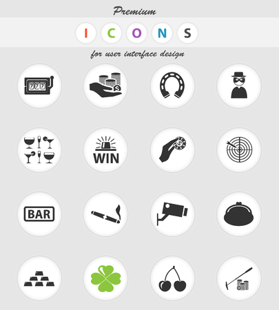 casino vector icons for user interface design