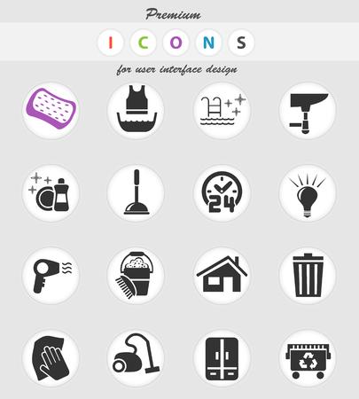 icone web della società di pulizie per la progettazione dell'interfaccia utente