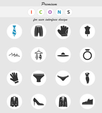 clothes vector icons for user interface design Иллюстрация