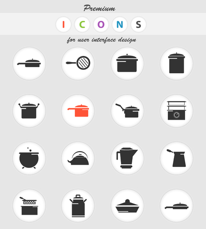 dishes vector icons for user interface design Иллюстрация