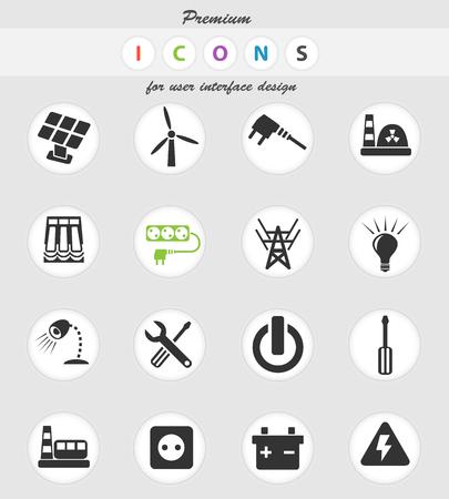 icônes Web d'électricité pour la conception de l'interface utilisateur Vecteurs