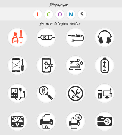 electronics repair web icons for user interface design Illusztráció