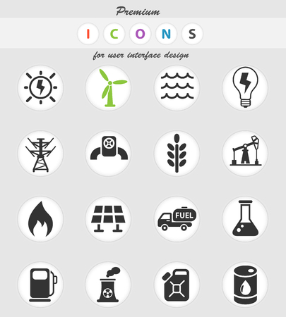 fuel and power web icons for user interface design