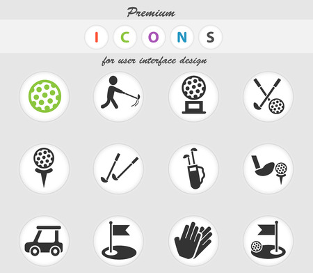 golf web icons for user interface design Illustration