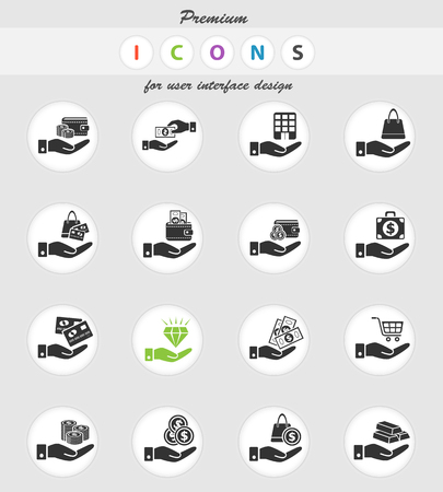 hand and money web icons for user interface design 矢量图像