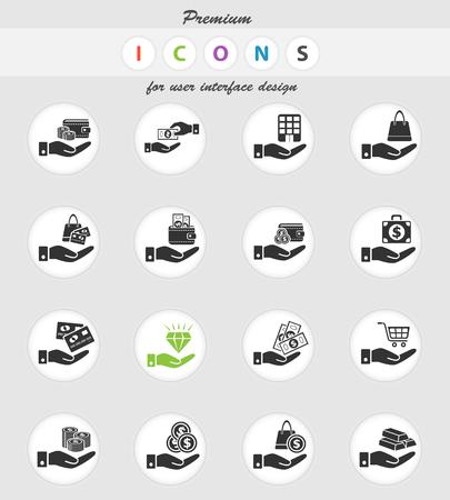 iconos web de mano y dinero para el diseño de la interfaz de usuario