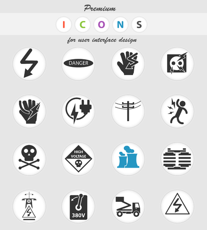 high voltage vector icons for user interface design
