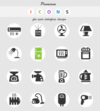 home appliances web icons for user interface design