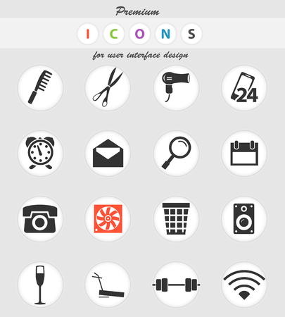hotel room vector icons for user interface design