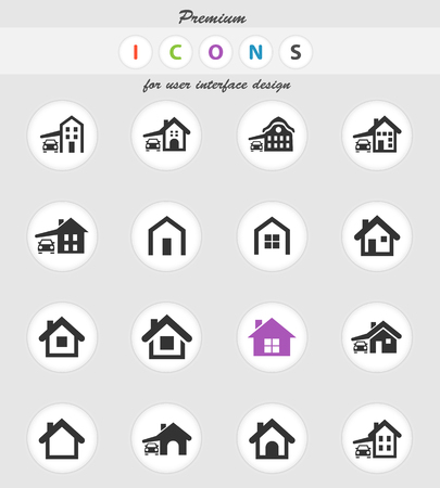 house type vector icons for user interface design