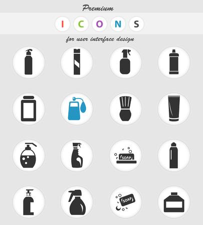 icônes vectorielles de produits chimiques ménagers pour la conception d'interface utilisateur Vecteurs