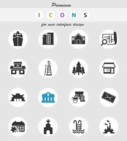 icônes vectorielles d'infrastructure pour la conception de l'interface utilisateur
