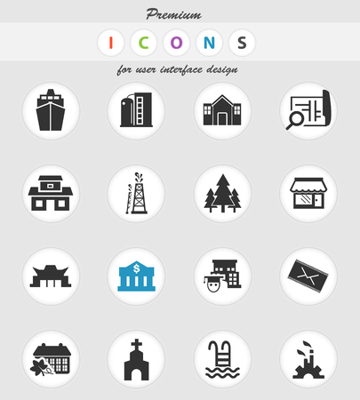 iconos vectoriales de infraestructura para el diseño de la interfaz de usuario
