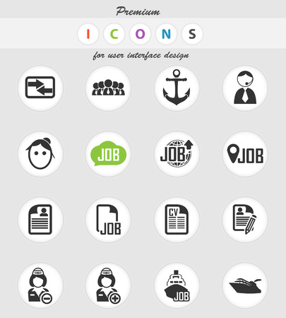 job vector icons for user interface design 向量圖像