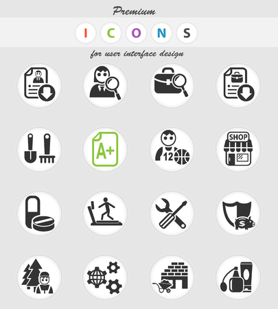 job search web icons for user interface design
