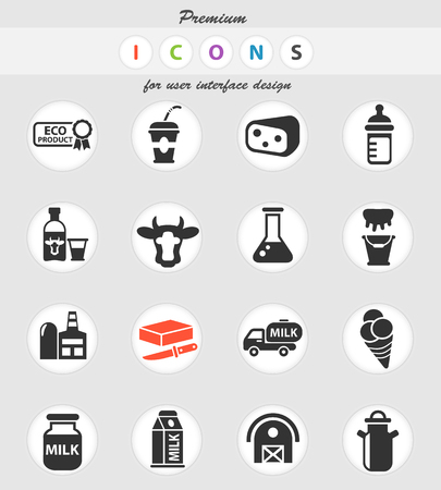 milk web icons for user interface design Ilustrace