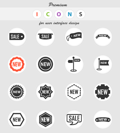 sticker and label vector icons for user interface design