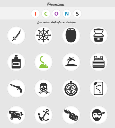 pirates vector icons for user interface design