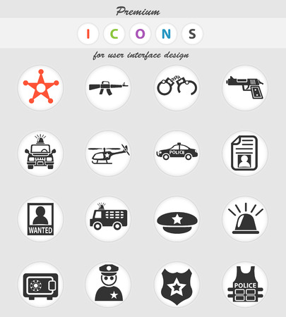 police web icons for user interface design
