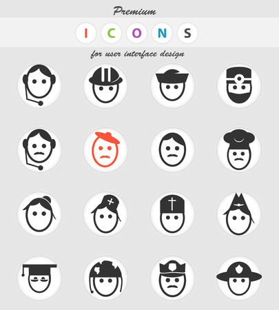 profession vector icons for user interface design Çizim
