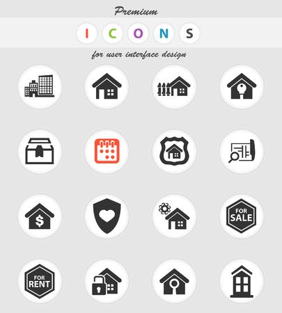 icônes vectorielles immobilier pour la conception de l'interface utilisateur