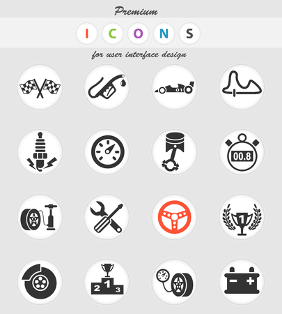 racing web icons for user interface design