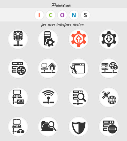 Server web icons for user interface design 向量圖像