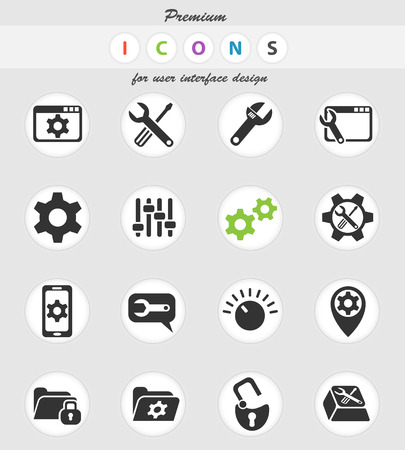 Settings web icons for user interface design