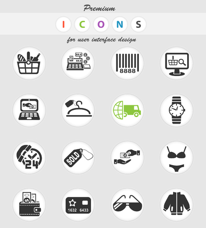 shopping and e-commerce web icons for user interface design