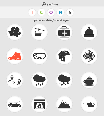 skiing vector icons for user interface design Stock Illustratie