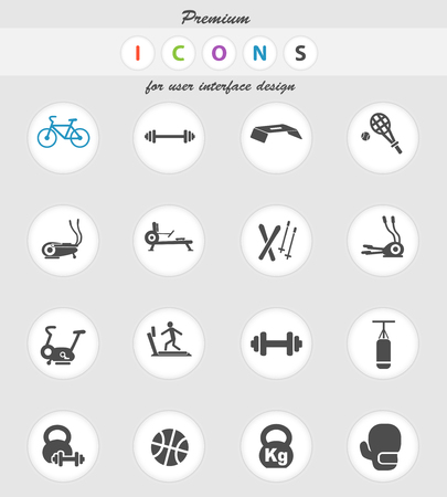 sport equipment web icons for user interface design