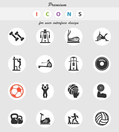 sport equipment vector icons for user interface design