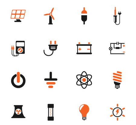 electricity color vector icons for web and user interface design Vector Illustration