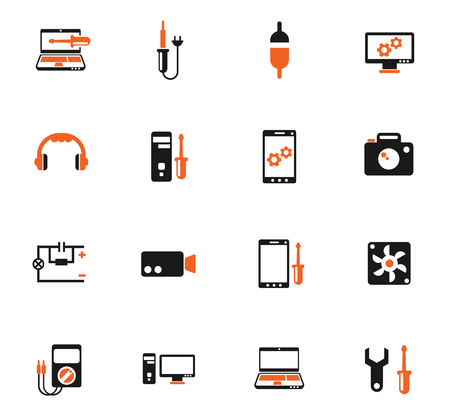electronics repair color vector icons for web and user interface design
