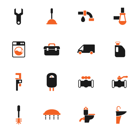 plumbing service vector icons for web and user interface design Banque d'images - 112079797