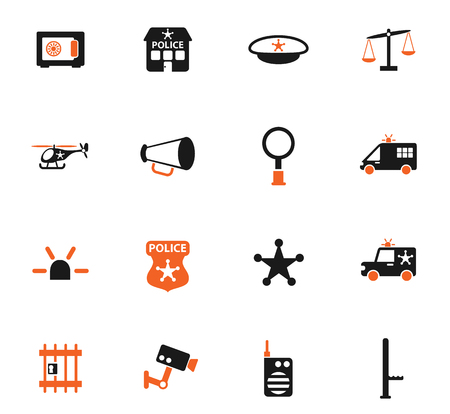 police department color vector icons for web and user interface design
