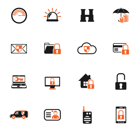 security color vector icons for web and user interface design