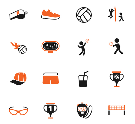 volleyball color vector icons for web and user interface design