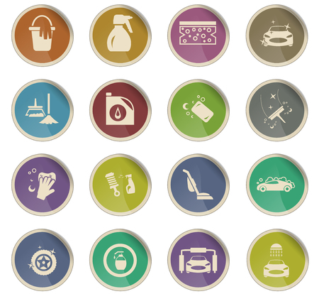 car washer vector icons for user interface design Illustration
