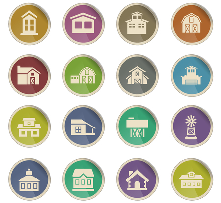 farm building vector icons for user interface design Illustration