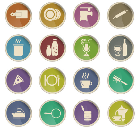 food and kitchen vector icons for user interface design Vettoriali