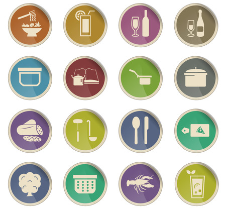 food and kitchen vector icons for user interface design Çizim