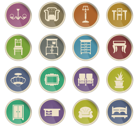 furniture vector icons for user interface design  イラスト・ベクター素材