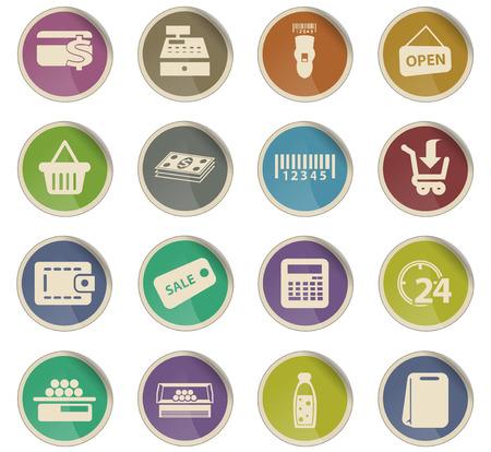 ikony wektorowe sklepu spożywczego do projektowania interfejsu użytkownika Ilustracje wektorowe