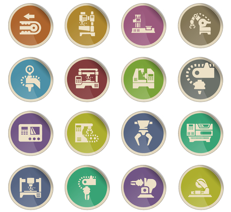 machine tools vector icons for user interface design