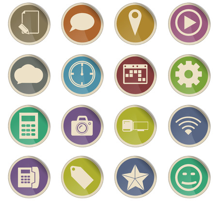 social media vector icons for user interface design Çizim
