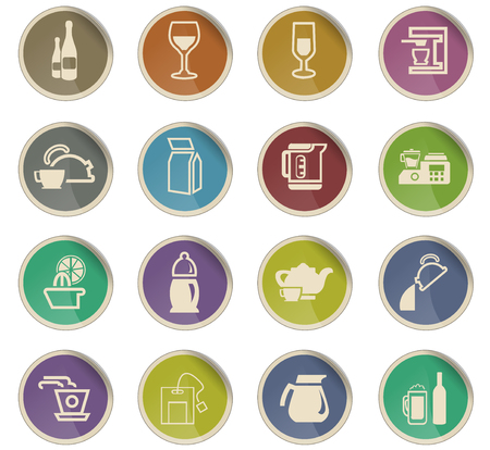 utensils for beverages vector icons for user interface design 일러스트