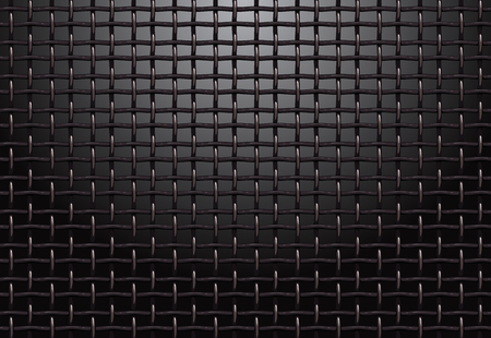 Metal grill grid realistic vector structure black background